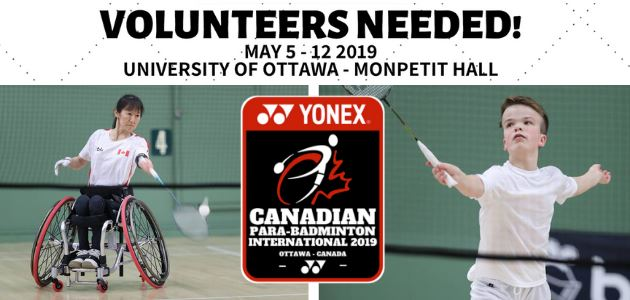 Volunteers Needed for the Canadian Para-badminton International 2019
